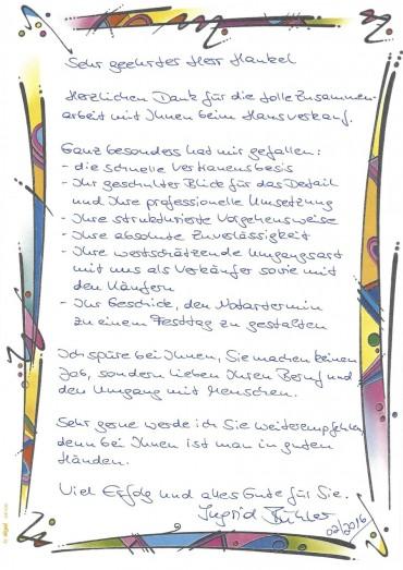 Empfehlungsschreiben Frau Bühler