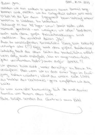 Vielen Dank für dieses sehr nette Schreiben!